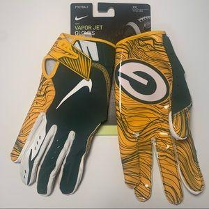 Nike Vapor Jet Pro Green Packers Football Gloves